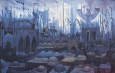 Jerusalem in Prayer , Oil , 1977 ,    92x50 cm