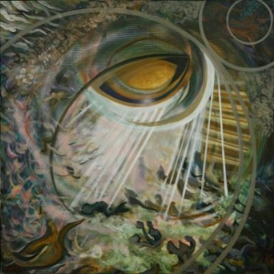Cosmic Eye ,Oil, 90's 100x100 cm.