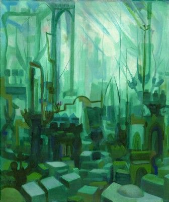 Jerusalem in Green , print on canvas /paper 70x60