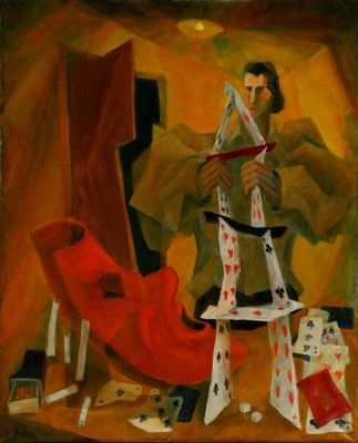 Tower of Cards, Oil 1959       81x60 cm