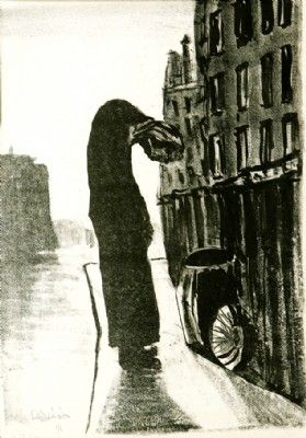 Beggar Woman in Paris , litho, 1958      60x40 cm.