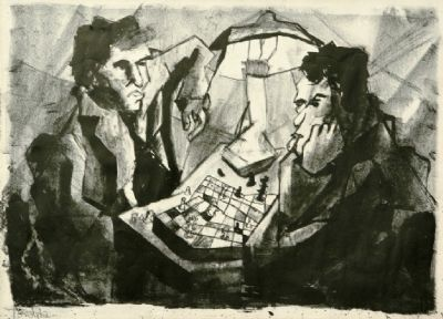 Chess Players ,litho , 1958 , 50x35 cm.