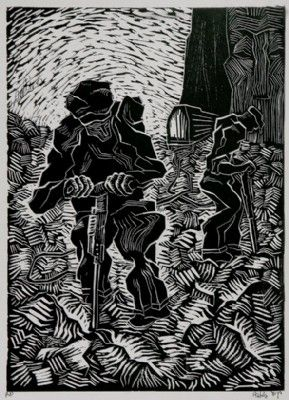 Earth Workers, lino cut , 1955 50x35cm.