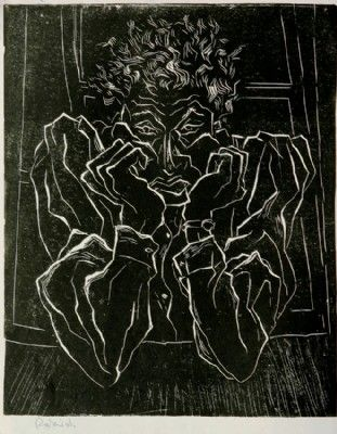 Self-Portrait, lino cut, 1958 50x60 cm.