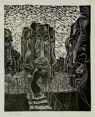 The Fathers , lino cut , 1958, 50x60 cm.
