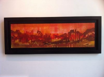 45.2inchx17.5 inch framed size , oil on paper glued on wood Monoprint